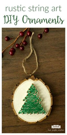 Christmas Tree String Art Ornaments DIY Christmas Tree Ornaments are a fun Yule Crafts, Christmas Wood Crafts, Handmade Christmas Tree, Diy Christmas Ornaments, Christmas Projects, Christmas Art, Christmas Tree Decorations, Holiday Crafts, Simple Christmas