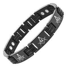 MasonicMan Men's Black Magnetic Titanium Masonic Bracelet Adjustable. Free black velvet bracelet box included. Free link removal tool - allows you to adjust the size in the comfort of your home. Extra strong high powered magnets (3000 gauss). Hand crafted from super strong, yet super light weight pure titanium. Please read feedback from our satisfied customers.