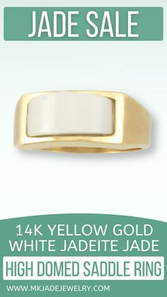 Classic white jade high domed saddle ring bezel set in a 14K yellow gold mounting, finger size 7.5. Use discount code INSTA10JORDAN at checkout!