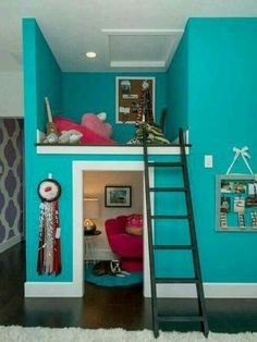 Trends in decorating kids rooms allow to create amazing designs. Decorating kids rooms is a unique task. Creative and modern ideas help design interesting, stimulating and comfortable kids rooms and a (Cool Beds Creative) Girl Bedroom Designs, Girls Bedroom, Bedroom Decor, Trendy Bedroom, Bedroom Themes, Childrens Bedroom, Bedroom For Kids, Teal Teen Bedrooms, Cool Girl Bedrooms