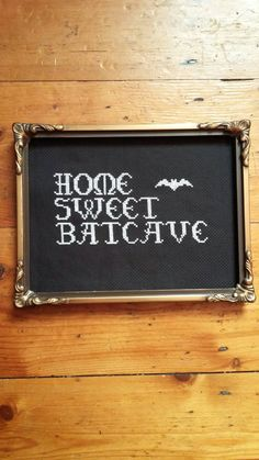 Home sweet batcave. Goth Addams Family cross by VeryCrossStitchx