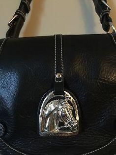 abbfd30575e5 Lauren Ralph Lauren Black Silver Embellished Equestrian Horse Purse HandBag  Black Handbags