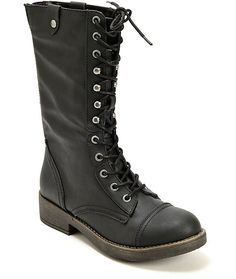 Madden Girl Motorrr Combat Boots | made with a lace-up design and a long shaft that can be rolled to expose the trendy plaid liner.