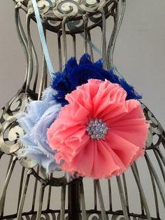 Blue headband, coral, royal blue, and light blue flower headband coral headband, blue headband, girls headband, baby headband hair accessory by VittysPretties on Etsy