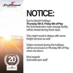 Holiday notice!