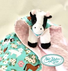 """Cuddly stuffed cow with her very own minky and flannel """"cape""""