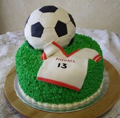 """Soccer Birthday Cake Chocolate cake with buttercream """"grass"""" fondant covered soccer ball and jersey Soccer Birthday Cakes, Diy Birthday Cake, Birthday Cakes For Teens, Birthday Boys, Birthday Ideas, Teen Cakes, Cakes For Boys, Soccer Ball Cake, Soccer Cakes"""
