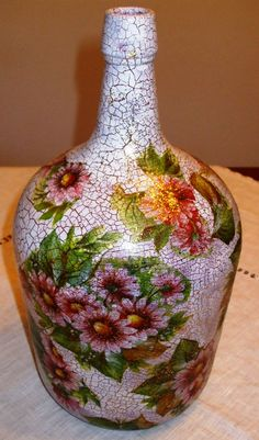 1 million+ Stunning Free Images to Use Anywhere Recycled Glass Bottles, Glass Bottle Crafts, Wine Bottle Art, Painted Wine Bottles, Painted Jars, Diy Bottle, Bottles And Jars, Blue Wine Glasses, Mosaic Bottles