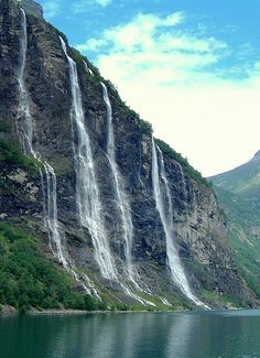 7 Sisters Waterfall, Norway is the 39th tallest waterfall in Norway. The waterfall consists of 7 separate streams, and the tallest of the 7 has a free fall that measures 250 m(820 ft).The waterfall is located along the Geirangerfjorden in Stranda Municipality in Møre og Romsdal county, Norway, south of the historic Knivsflå farm.The falls are about 6.5 kilometres(4.0 m) west of the village of Geiranger. It is part of the Geiranger World Heritage Site,from Iryna