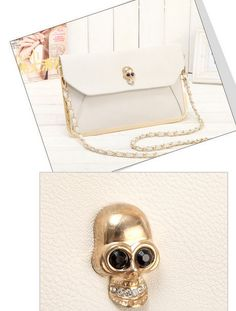 POR ENCOMENDA - Bolsa Caveira Envelope Gold - Rocket Queen Store