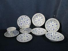 Myott Finlandia Cup Saucer Bowl Vintage 1982 Blue Lace Pattern England Lot of 10 #Myott