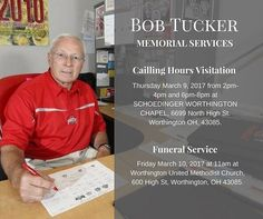 A visitation will be held Thursday March 9, 2017 from 2pm-4pm and 6pm-8pm at SCHOEDINGER WORTHINGTON CHAPEL, 6699 North High St. Worthington OH, 43085.  A funeral service will take place Friday March 10, 2017 at 11am at Worthington United Methodist Church, 600 High St, Worthington, OH 43085.  Donations in his memory can be made to two organizations he was passionate about the USO and Faith Mission  Please visit our online guestbook at www.schoedinger.com to share memories and your…