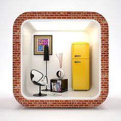 3D interior IOS Icon by Ali Rahmoun