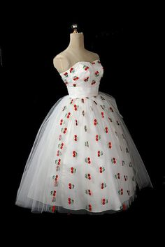 1950's Strapless Tulle Dress with Embroidered Berries