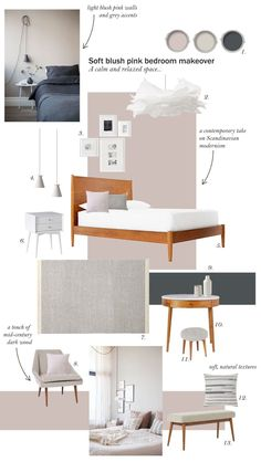 Blush pink bedroom inspiration - Farrow & Ball Peignoir - West Elm mid-century furniture - Scandinavian modernism