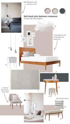 Blush pink bedroom inspiration - Farrow & Ball Peignoir - West Elm mid-century furniture - Scandinavian modernism