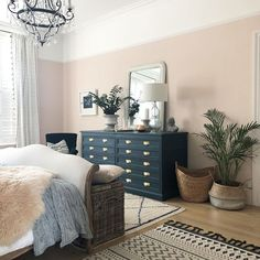 The end of our Antoinette bed never looked so good! Blue And Pink Bedroom, Light Pink Bedrooms, Pink Bedroom Walls, Pink Room, Soft Grey Bedroom, Spare Bedroom Decor, Warm Bedroom Colors, Light Pink Walls, Pink Master Bedroom