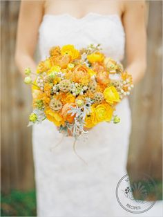 yellow and orange wedding bouquet
