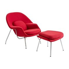 Check out this item at One Kings Lane! Berlin Lounge Chair & Ottoman, Red
