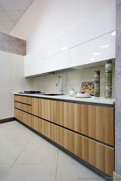 Modern Light Wood / White Kitchen Cabinets