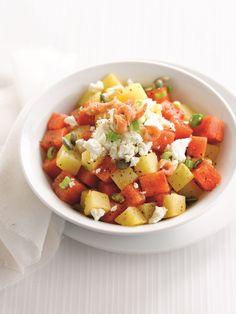 Recept aardappelsalade met watermeloen, feta en pompoenpitten