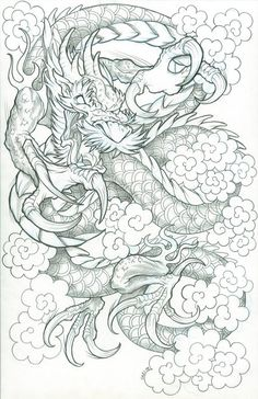 Dragon drawn on 11 x 17 bristol with a blue colorerase pencil, will post finished design later. Koi Dragon Tattoo, Dragon Tattoo Drawing, Japanese Dragon Tattoos, Japanese Tattoo Art, Japanese Tattoo Designs, Dragon Tattoo Designs, Tattoo Drawings, Raijin Tattoo, Cloud Tattoo