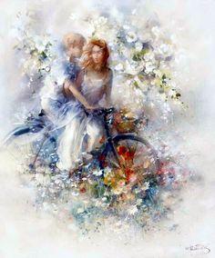 Spring Canvas Art - Willem Haenraets x Art Triste, Illustration Photo, Bicycle Art, Sports Art, Oeuvre D'art, Flower Art, Watercolor Paintings, Fantasy Art, Fine Art