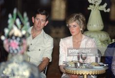 NOVEMBER 5, 1989: Prince Charles, Prince of Wales and Diana, Princess of Wales watch traditional dancing at the Palace of Yogyakarta during a royal tour of Indonesia on November 5, 1989 in Java, Indonesia.