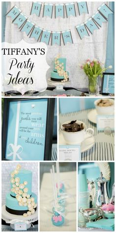 A Tiffany's themed Mother's Day tea party with robin's egg blue decor and cake!  See more party ideas at CatchMyParty.com!