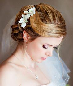 BRIDAL HAIR THAI ORCHID FLOWER WEDDING ACCESSORIES WHITE CLAY HANDMADE
