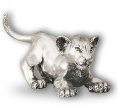 Silver Lion Cub Sculpture Playing