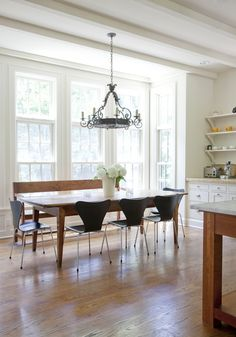 Liking the scoop chairs with a farm table. Maybe for my house with white chairs?