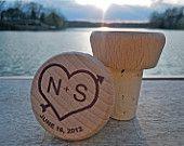 Custom Engraved Wine Bottle Stopper / Wood Wine Cork - Wedding Favors, Shower Favors. $3.75, via Etsy.