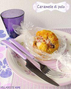 Caramelle di pollo in crosta croccante in carta fata
