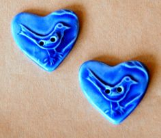 2 Sweet Ceramic Bird in a  Heart Buttons by beadfreaky on Etsy, $9.00