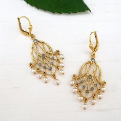 Delicate, light and airy. small chandelier earrings, black diamond crystals & tiny freshwater pearls. Gold Chandelier Earrings, Filigree Design, Wedding Earrings, Bridal Accessories, Black Diamond, Delicate, Party Ideas, Bride, Pearls