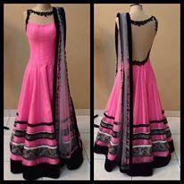 fashion, dress, pink, long, anarkali, black borders, lace details, dupatta, lace back