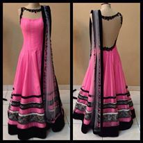 fashion, dress, pink, long, anarkali, black borders, lace details, dupatta, lace back