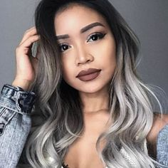 silver hair Shooting all day today with matrix! Im about to do a hair transformation with constancerobbins, can you guess what color were doing Silver Ombre Hair, Best Ombre Hair, Ombre Hair Color, Brunette Color, Balayage Blond, Pixie Bob, Hair Transformation, Hair Highlights, Dark Hair