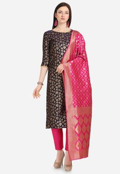 Beige And Blue Color Jacquard Casual Wear Salwar Kameez Blue Trousers, Silk Pants, Cotton Pants, Cotton Dresses, Women's Fashion Dresses, Fashion Pants, Abaya Fashion, Straight Cut Pants, Designer Salwar Suits