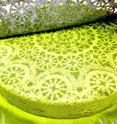 Spray paint stepping stone with lace!