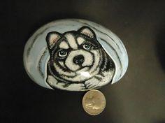Snow Husky Dog painted Pet River Rock