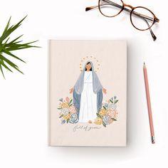 Virgin Mary Flower Journal - Ruled Line Catholic Gifts, Catholic Art, Boho Nursery, Nursery Wall Art, Aesthetic Painting, Christian Wall Art, Playroom Decor, Planner, Printable Art