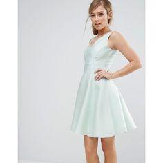 Coast Jennifer Mini Dress ($140) ❤ liked on Polyvore featuring dresses, green, short dresses, fit flare dress, v neck short dress, tall dresses and green fit and flare dress