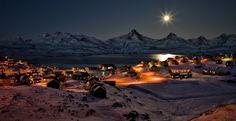 Full moon over Tasiilaq in East Greenland, December 2012