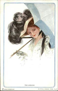Harrison Fisher - Beautiful Woman Under Parasol THE AMBUSH c1910 Postcard