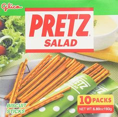 Pretz Salad Flavor Biscuit Sticks Gift Box Set (1 Box of 10 Mini-Bags)