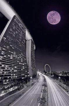 Moon rise over Marina Bay Sands