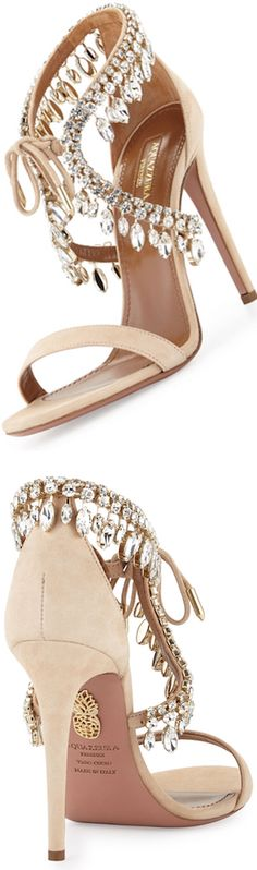 f3ea34753 Aquazzura Milla Jeweled Suede Sandal, Nude White Wedding Shoes, Jeweled  Shoes, Suede Sandals