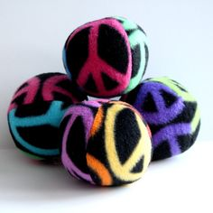 Keep The Peace Fleece Squeaky Dog Ball toy by smilingfrogpets, $3.00